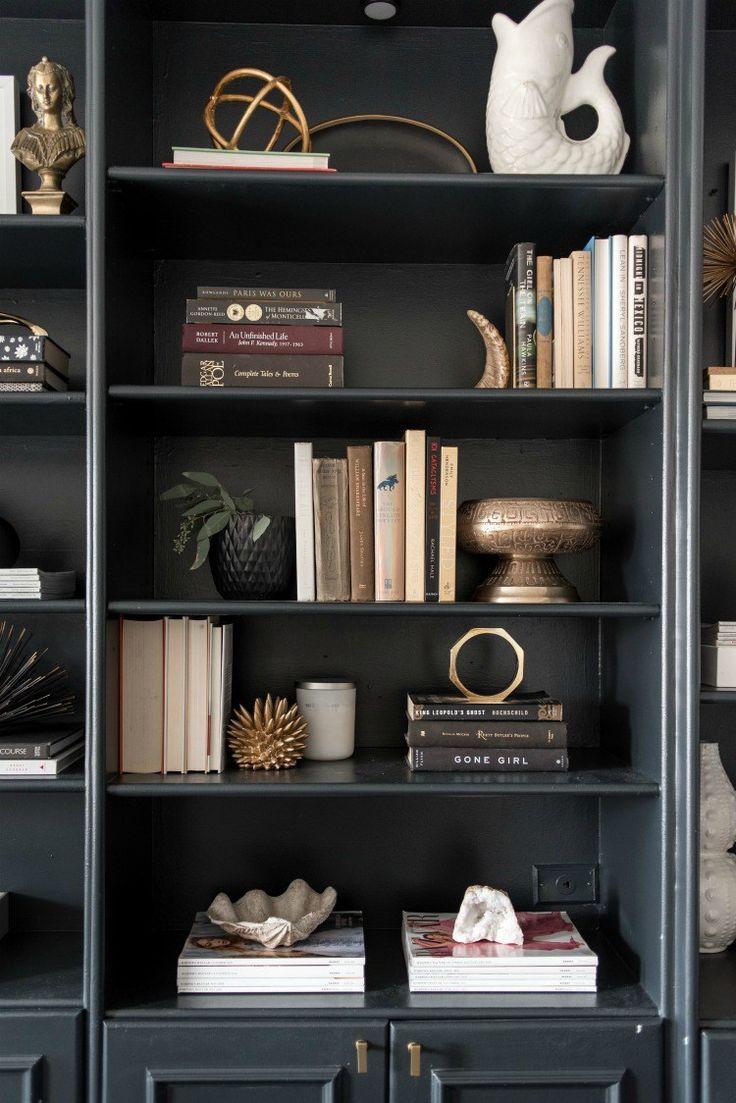 bookshelves styling inspiration - black bookshelves