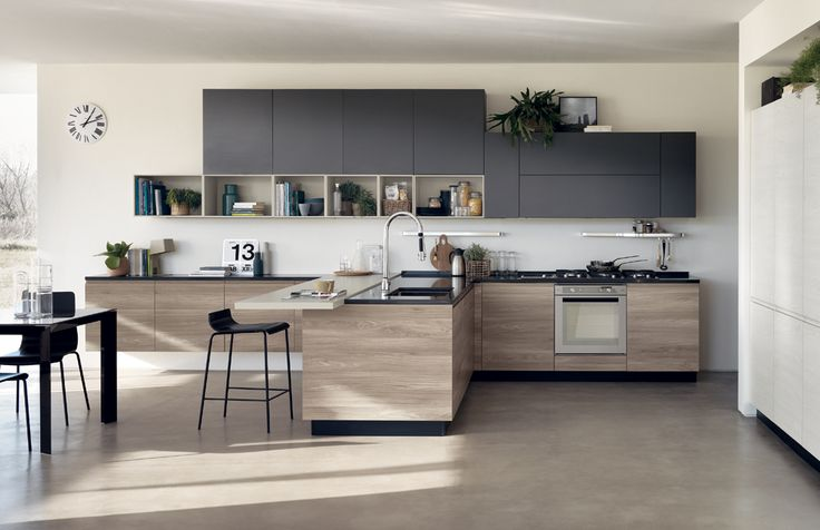 "The focal point of this composition, is a peninsula complete with sink and storage units, ""Melting"" breakfast/snack top in Seagull Grey laminate and Black Endless stools."