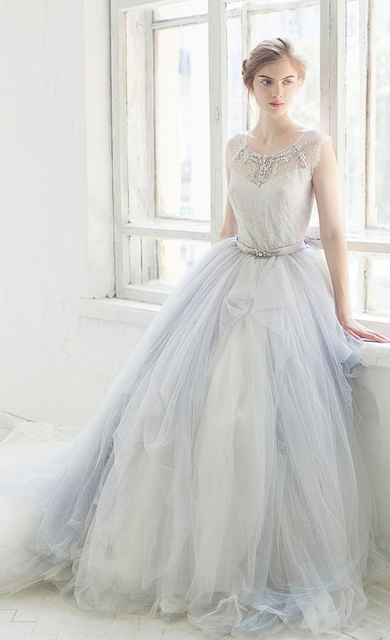 White and Blue Belted Jewel Embellished Ballgown Wedding Dress