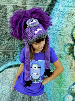 Evil Purple Minion Crochet Hat pattern by Snappy Tots.Crochet Hat Patterns, Crochet Hats Pattern, Crochet Purple Minions Hats, Custom Crochet, Evil Minions, Too Funny, Minions Crochet, Evil Purple, Hats Outfit