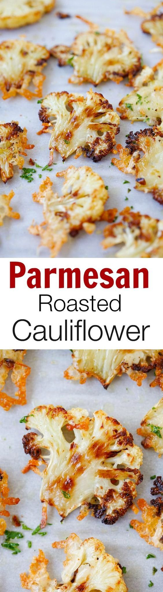 Parmesan roasted cauliflower - easiest and best roasted vegetable ever. Slice…