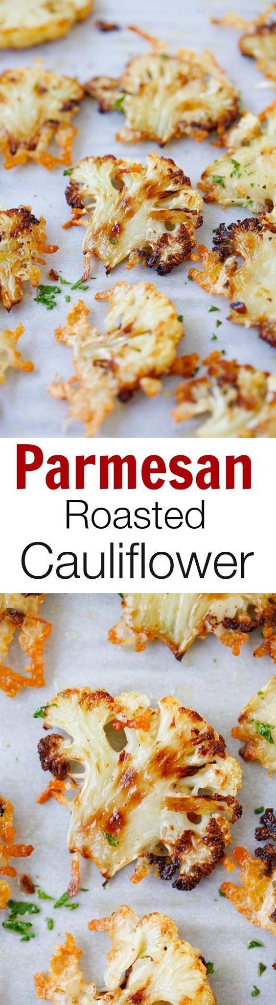 Parmesan roasted cauliflower - easiest and best roasted vegetable ever. Slice…