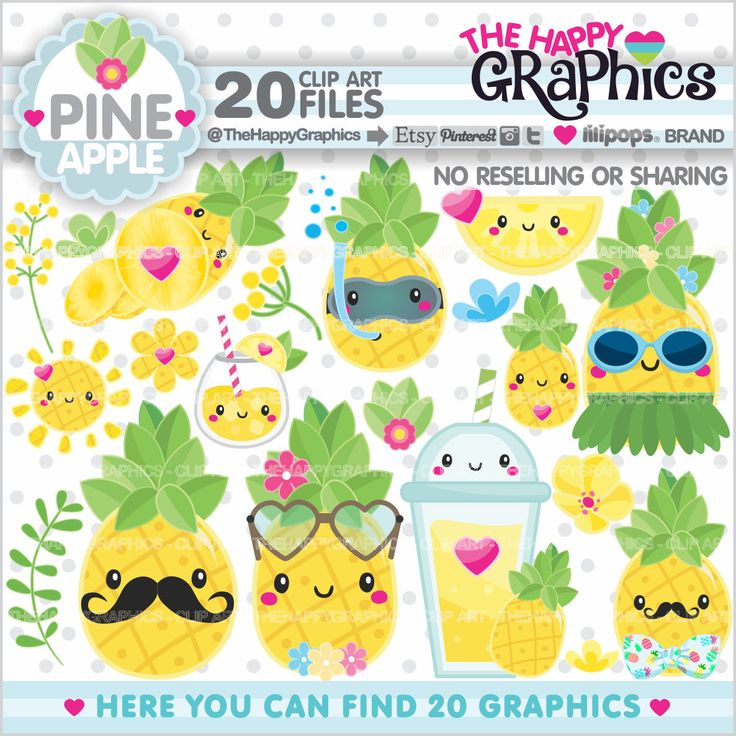 Pineapple Clipart, Pineapple Graphics, COMMERCIAL USE, Kawaii Clipart, Pineapple Party, Pineapple Illustration, Summer Clipart, Tropical