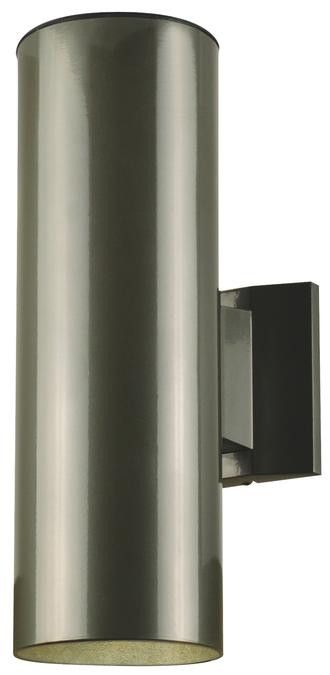 Two Light Outdoor Wall Fixture Polished Graphite Finish On Steel Cylinder