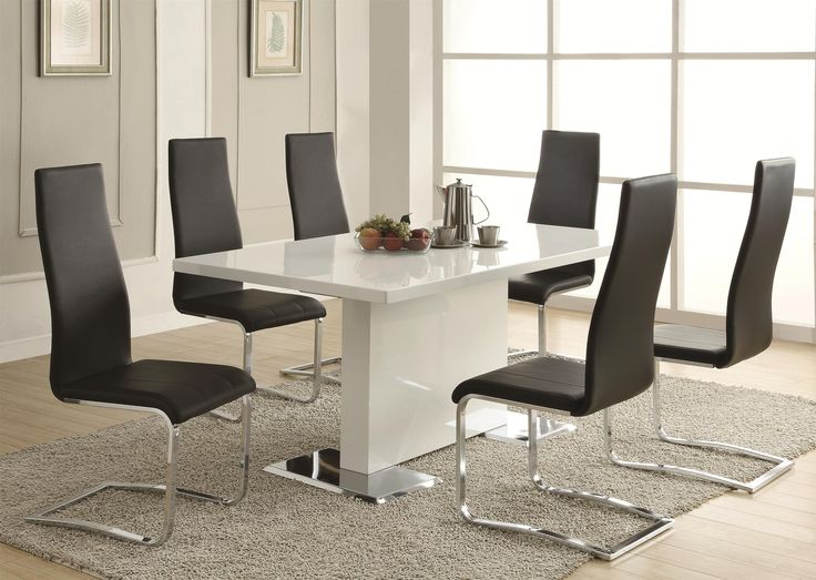 white contemporary dining room sets. dining room table  Coaster Modern Dining White Table With Chrome Metal Base Fine 119 best images on Pinterest sets