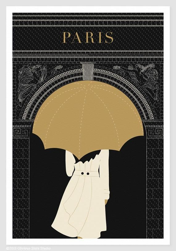 umbrella illustration . arc de triomphe ++ the paris print shop