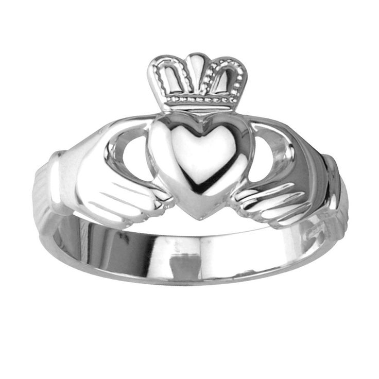 """This ladies Claddagh ring is meant to compliment fingers of any size, as it is not too heavy duty nor too delicate. The Claddagh ring is crafted from beautiful sterling silver. It measures approximately ½"""" from the base of the heart to the top of the crown! The ring comes in a charming gift box for simple gift giving. This traditional Claddagh ring is crafted by Solvar located in Co. Dublin, Ireland."""