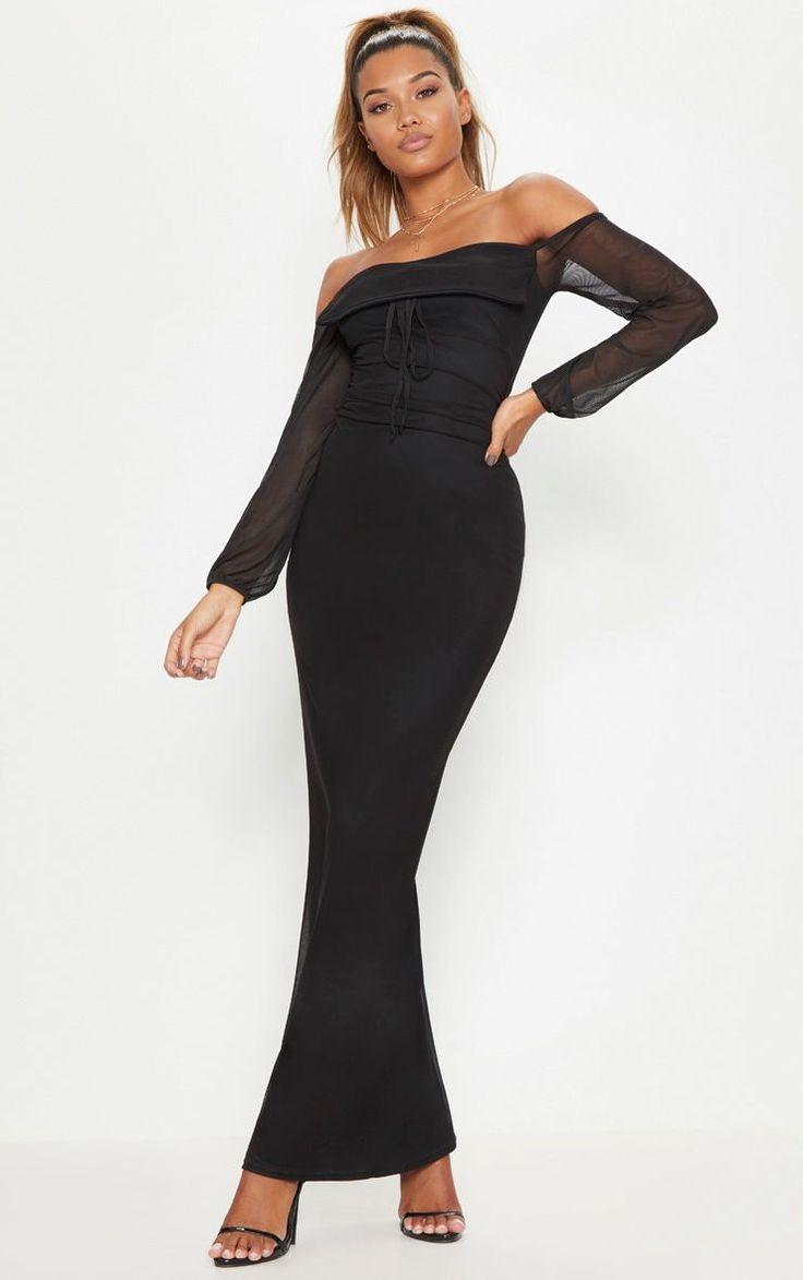Black mesh ruched square neck maxi dress maxi dress