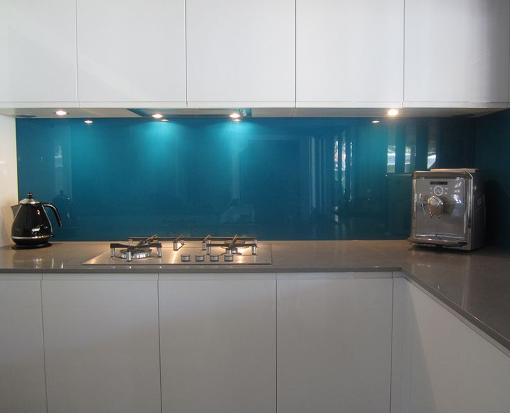blue glass kitchen splashback - Google Search
