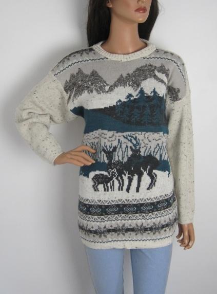 Vintage 1980s Reindeer Woodland Scene Oversized Jumper available to buy online at Virtual Vintage Clothing