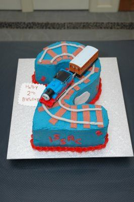 2nd birthday-  Thomas so much easier than making a train... Just do tracks ontop of a square/ round cake