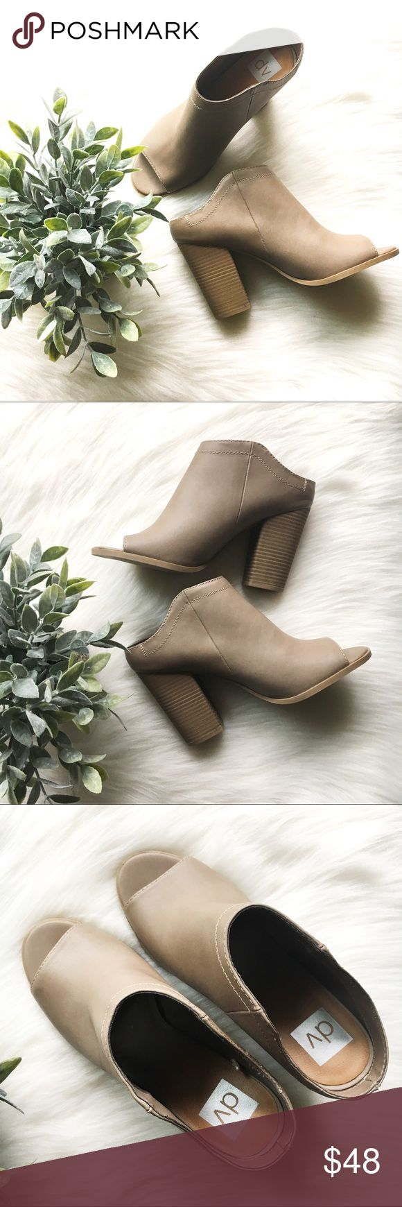 New DV Tan/Camel Mule Sandal Booties NWOB Dolce Vita DV shoes - never worn. Mint condition & flawless. Perfect style to wear for end of summer and into fall. Pair with skinnies and a lightweight kimono to wow everyone! Shoes Mules & Clogs