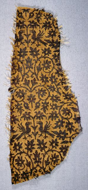 Fragments, Italy, 14th century. Silk. Technique: two integrated fabric structures (plain weave plus plain weave). Gift of John Pierpont Morgan. 1902-1-293-a,b.