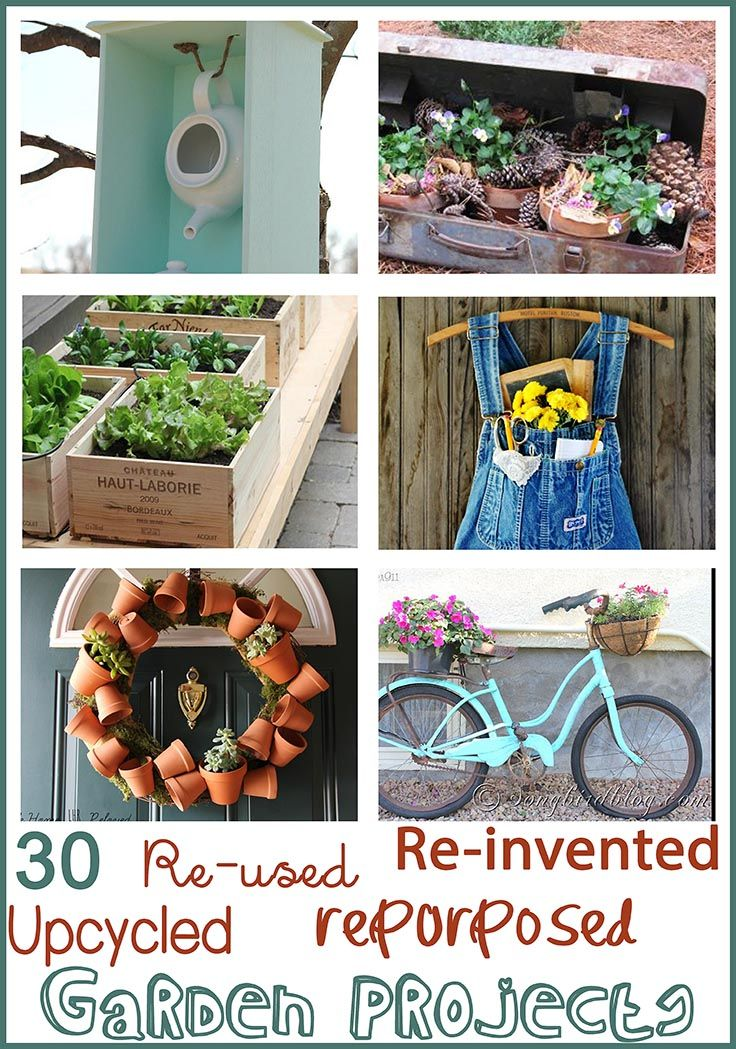 30 wonderful and inventive ideas to repurpose and upcycle your junk into your garden. From easy to intricate, these garden ideas are just wonderful. Gallery at www.songbirdblog.com