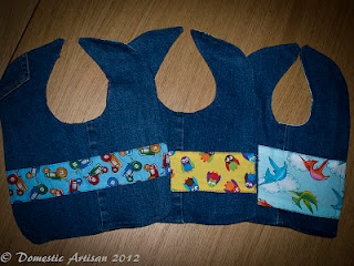 I used my old jeans to make my friends new baby some bibs as a welcome to the world present. Denim is so durable and by using a small amount of new, colourful material I was able to make cheap but eye popping, long lasting bibs.