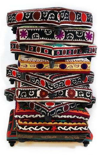 suzani pillows + ottoman, found object