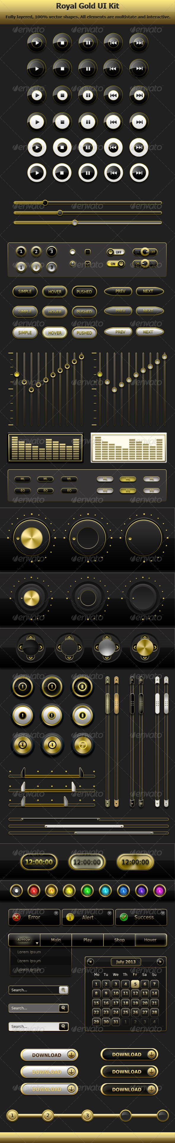 Entertainment User Interface Kit #GraphicRiver Entertainment User Interface Kit Royal Gold User Interface Kit is a fully vector set of different UI web elements. It was designed to ensure full comfort in resizing and editing shapes without quality loss. All buttons are interactive and have 3 states – simple, hover and pressed. Elements like scroll bars are provided with hover effect. Main colors are white, black and gold, but you can easily change color of each element by yourself. All…
