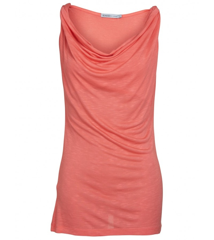 Think day to night with this pretty coral cowl Dido Top.
