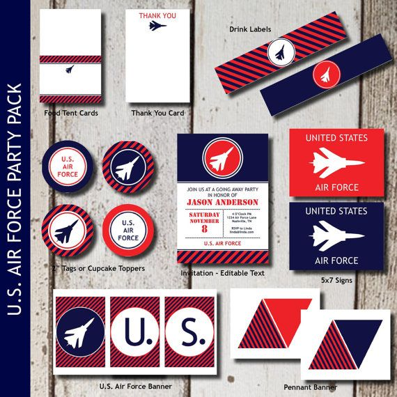 AIR FORCE Party Invitations and Decorations  by LeslieMarieINSTANT