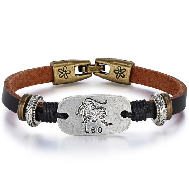 $3.75--LEO--Fate Love 2017 New 12 Constellations Bracelet Male Vintage Punk Leather Zodiac Horoscope Signs Bracelet Men Women Jewelry FL1188-in Charm Bracelets from Jewelry & Accessories on Aliexpress.com | Alibaba Group