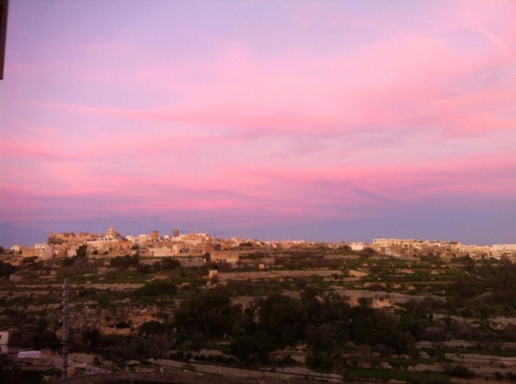 Sunset from Emma's terrace .. In Kercem on the outskirts of Victoria Gozo Malta