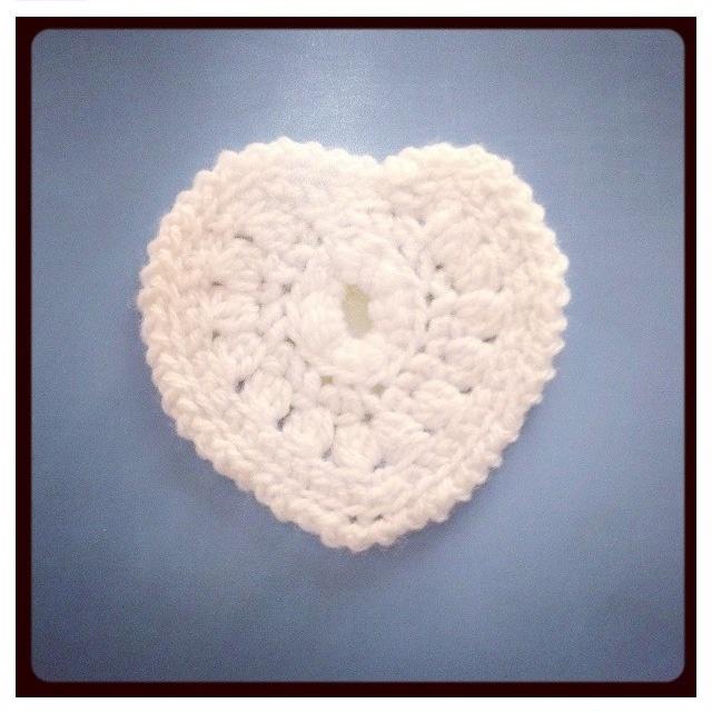 Cute white crochet hearts