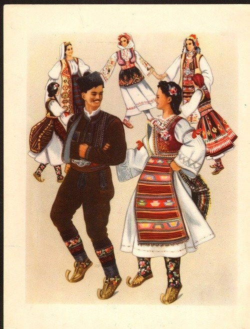 """Serbian Traditional Dance called """"Kolo"""" with the different costumes from Sumadija, Resava, Sredacka Zupa (Kosovo and Metohija), Nis and North Pcinje"""