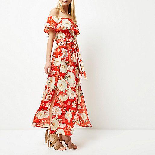 Rode maxi-bardotjurk met bloemenprint - lange jurken - jurken - dames