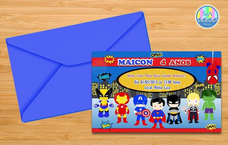 Convite Super Heróis <br> <br>- Tamanho: 10cm x 15cm. <br> <br>- Impressão: Em papel fotográfico Glossy. <br> <br>- Acompanha: Envelope colorido e tag adesivo para fechamento(personalizado com nome e idade). A cor o envelope pode variar conforme a disponibilidade em estoque. <br> <br>- Pedido mínimo de 20 unidades. <br> <br>* A amostra para aprovação da arte será enviada por e-mail após o envio das informações do convite. <br> <br>* Tempo de produção prazo de envio: 5 dias (úteis) mais prazo…