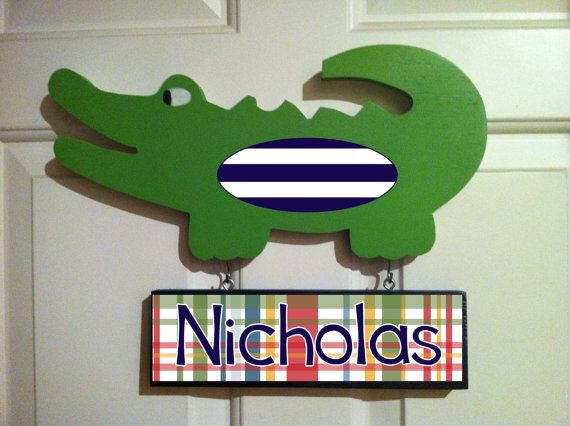 Alligator nursery decor/Alligator door hanger with name sign/personalized alligator on Etsy, $36.99