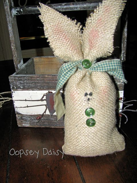 Burlap Bunnies | Oopsey Daisy burlap stuffed with beans.  Cute!