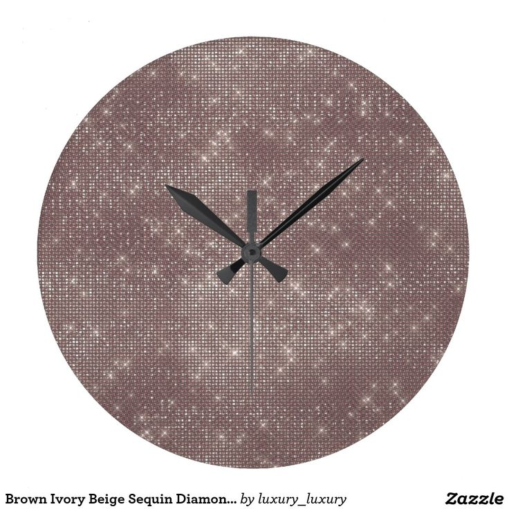 Brown Ivory Beige Sequin Diamond Sparkly Wallclock