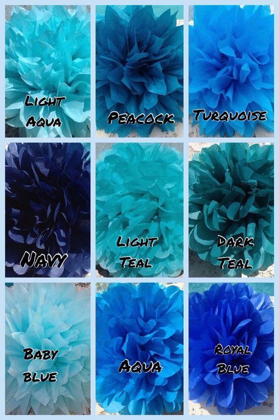 Shades of Blue - 9 tissue paper poms// baby shower, wedding, party decor, birthday, bridal shower, nursery on Etsy, $28.99