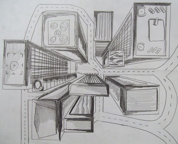 multi point perspective 7th grade bird 39 s eye view one point perspective city in pencil. Black Bedroom Furniture Sets. Home Design Ideas