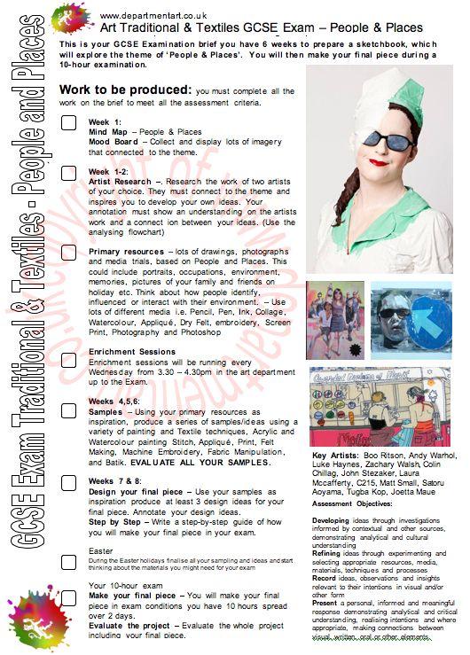 AQA, Exam, Art, Textiles, Art Exam, Textiles Exam, People and Places exam, GCSE, GCSE ART EXAM,