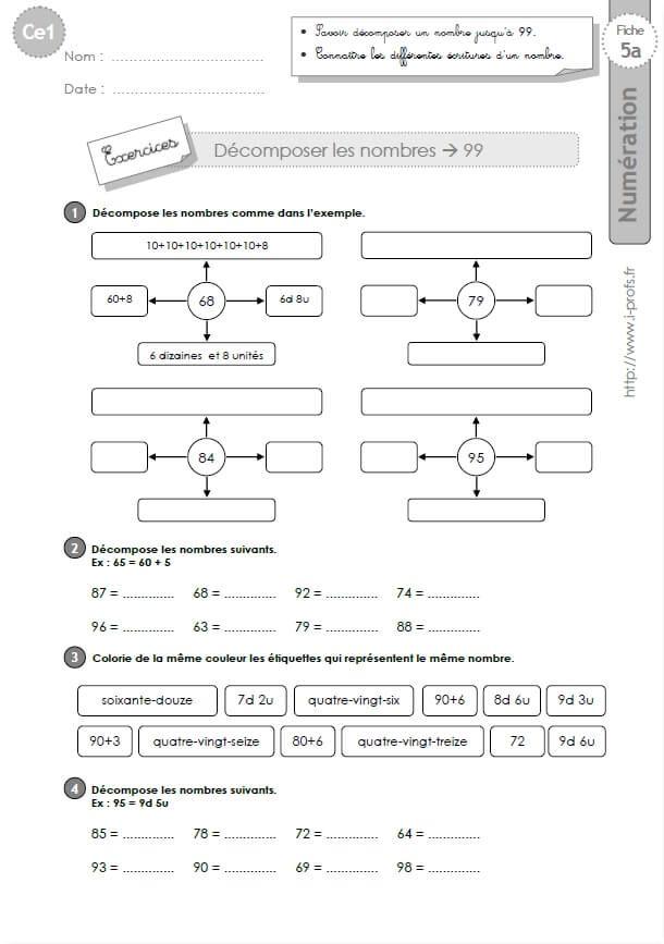 Decomposer Les Nombres Jusqu A 999 Exercices Decomposer Les Nombres Ce1 Programme Ce1