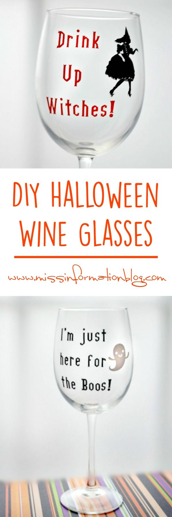 DIY Halloween Wine Glasses with Cricut and vinyl so fun and step by step instructions for how to apply it to a curved surface!
