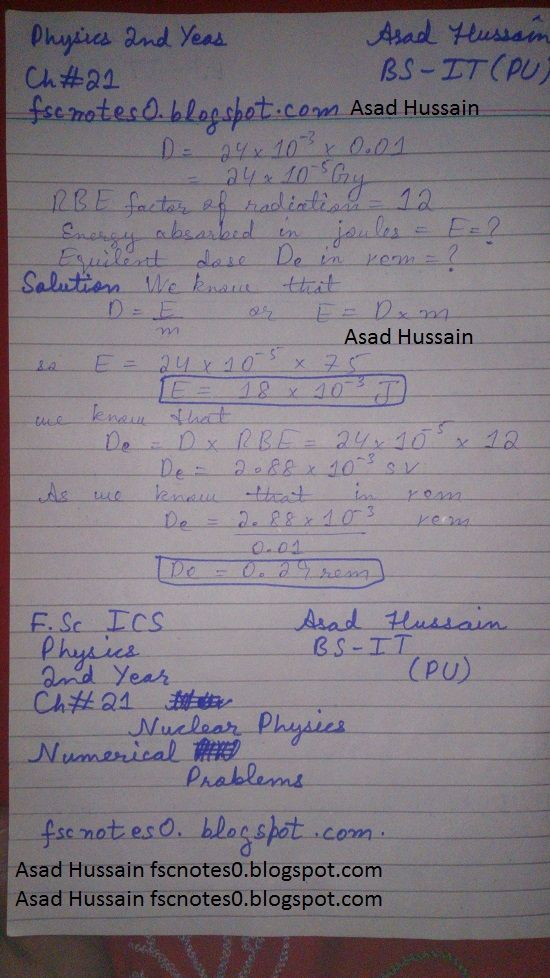 F.Sc ICS Notes: Physics XII: Chapter 21 Nuclear Physics Numerical Problems Asad Hussain 5