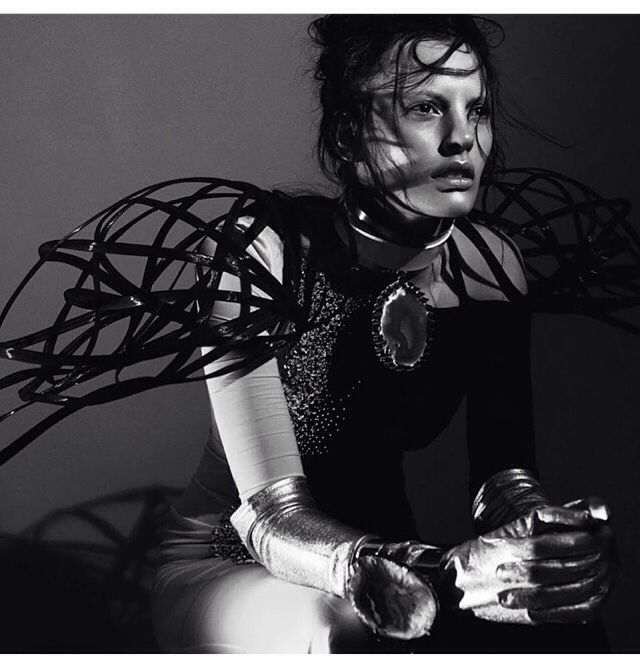 Shoulder Cage with exaggerated 3D shape - sculptural fashion; wearable art // editorial for Numero Magazine