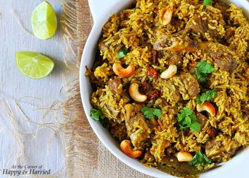 MUTTON BIRYANI {TAMIL NADU STYLE}. An aromatic and  flavorful one-pot rice and meat dish. #happyandharried #biryani #mutton #goat #lamb #Indian #recipe #rice #spicy #tamil #party #dinner #Christmas #Holidays