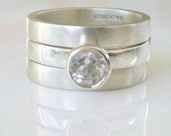 White topaz triple wedding ring set - engagement ring  and two silver wedding bands : MADE TO ORDER