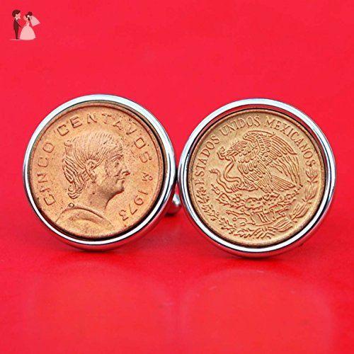 1975 Mexico 5 Cent Centavos BU Uncirculated Coin Silver Cufflinks NEW - National Arms & Portrait of Josefa Ortiz de Domínguez - Groom cufflinks and tie clips (*Amazon Partner-Link)