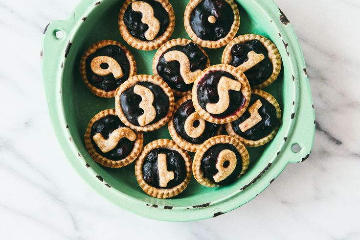 @Lauren Katz Mini Cherry-Blueberry Pies for #piday! The numbers make these so adorable. #dessert #food