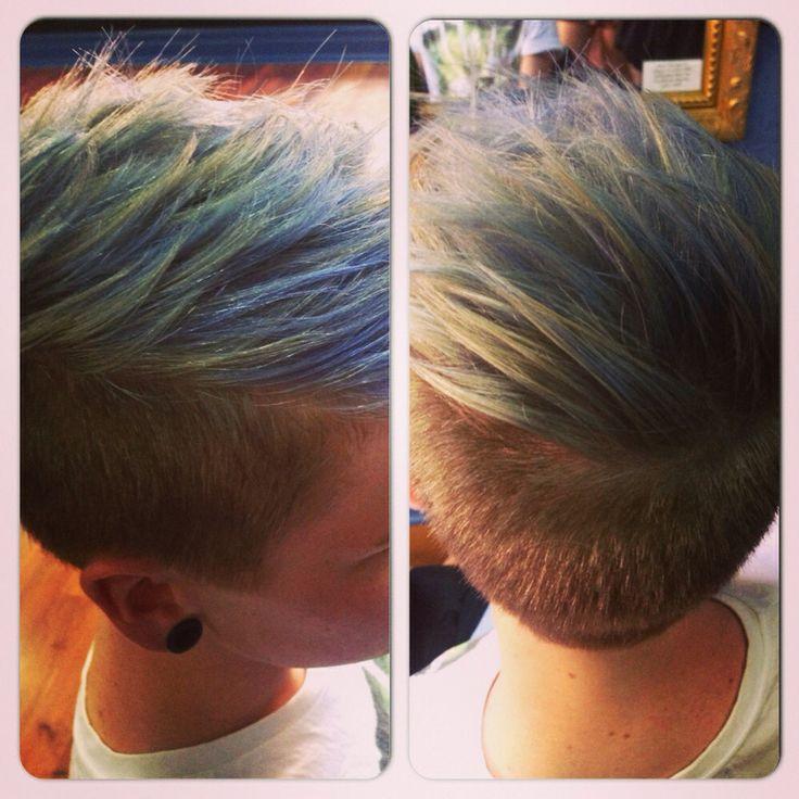 Men hair pastel blue
