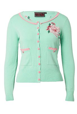 Voodoo Vixen Mint Green Cardigan Floral Motif Retro Vintage Rockabilly Pin Up