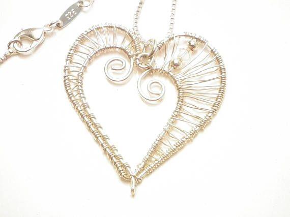 925S silver wire wrapped Swarovski heart pendant boho