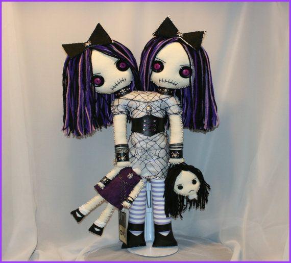 Авторский кулон ручной сшитые сиамский Близнец тряпичная Кукла жуткий готический…