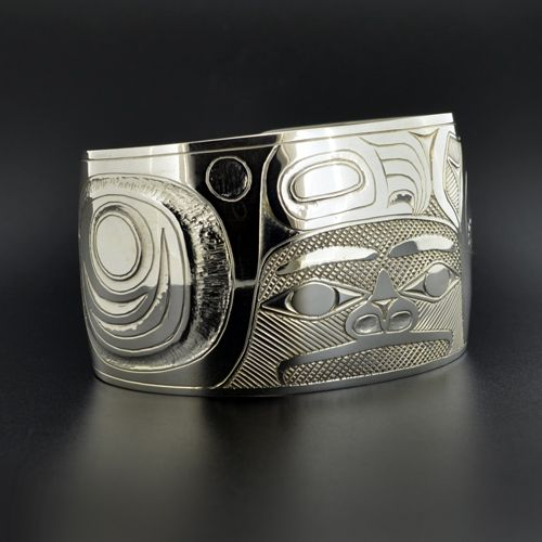 "'Seabear' Silver Cuff by Haisla artist Barry Wilson. 1 1/2"" x 6"", $1000.00 CAD. Available from LattimerGallery.com."