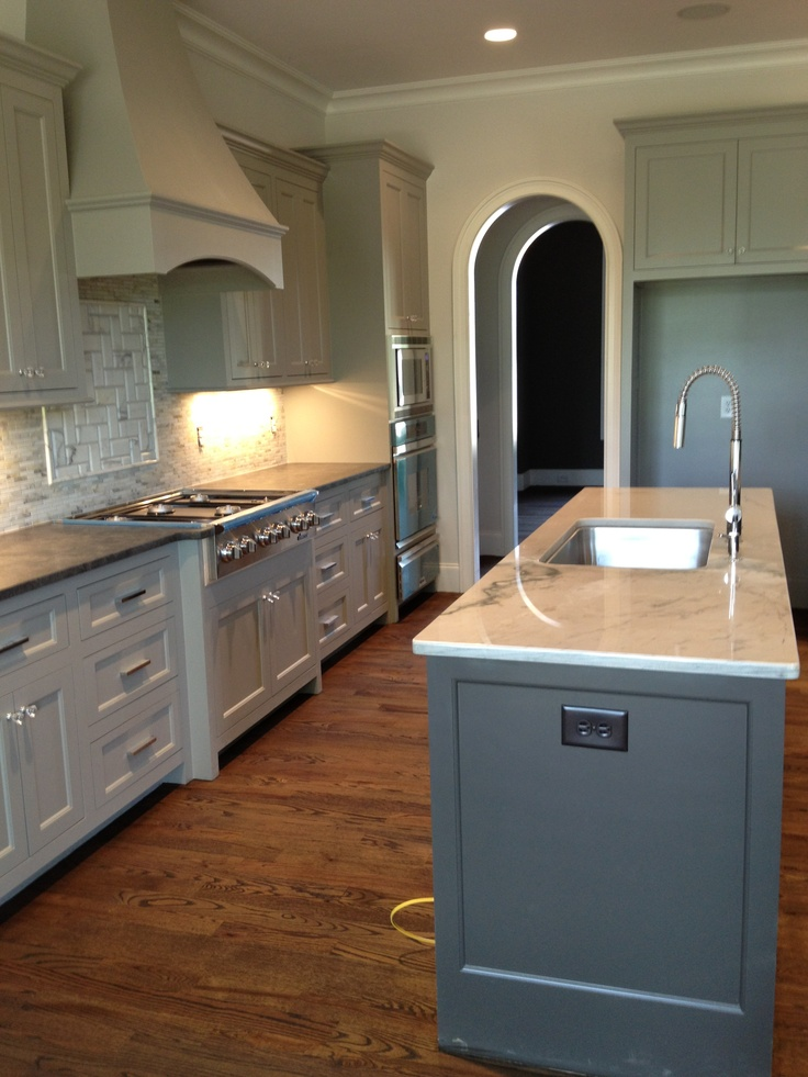 Sherwin williams dorian gray cabinets and urbane bronze for Grey kitchen wall units