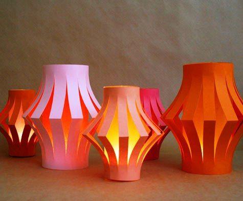 Cardstock and tissue paper Lanterns - Derek & Lauren